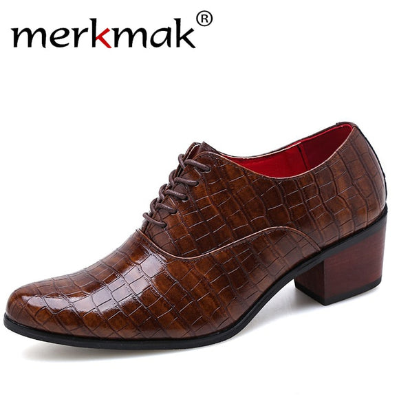Genuine Leather Dress Shoes Male Business Crocodile Pattern Pointed Toe High Heels Oxford Shoe Wedding Party