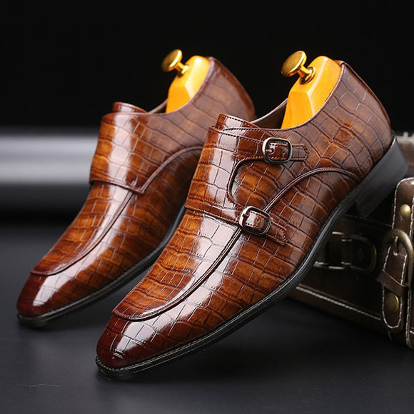 Merkmak Men's Brand Leather Formal Shoes dress shoes Oxfords Fashion Retro Shoes Elegant work Pointed Toe Footwear Drop Shipping  MartLion