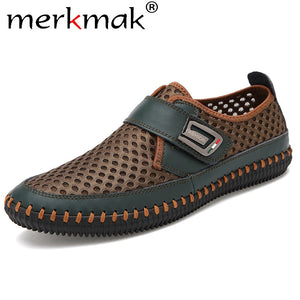 Merkmak Summer Shoes Men Flats Loafers Breathable Casual Chaussure Homme Real Leather Driver Moccasins Loafer casual Men Shoes  MartLion