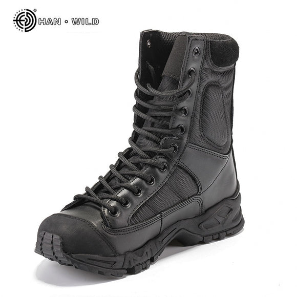 Army Boots Men Black Leather Desert Combat Work Shoes Winter Mens Ankle Tactical Boot Man Plus Size  MartLion
