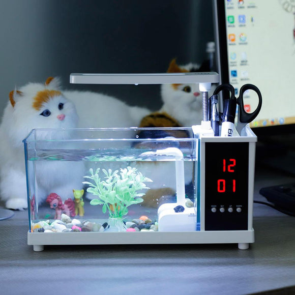 Mini Aquarium Fish Tank USB Aquarium With LED Lamp Light LCD Display Screen and Clock Fish Tank Aquarium Fish Tanks Black/ White  MartLion
