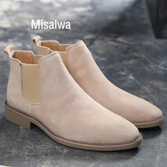 Misalwa Chelsea Boots Men Suede Leather Luxury Men Ankle Boots Original Male Short Casual Shoes British Style Winter Spring Boot  MartLion