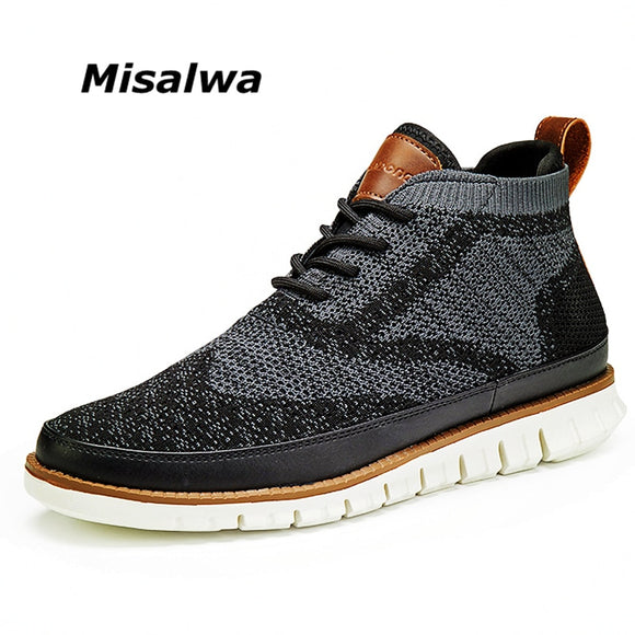 Misalwa High Top Flyknit Men Sneakers Double Upper Lace-up Lightweight Casual Men Shoes Comfortable Anti-skid Driving Loafers  MartLion