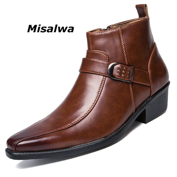 Misalwa Men's Dress Ankle Zip Leather Boots 2019 Autumn British Retro Men Motorcycle Boots Casual Shoes Black Buckle Zapatillas  MartLion