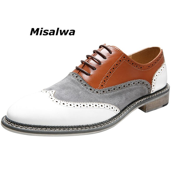 Misalwa Oxfords Wingtip Shoes Men Mixed Colors Classic Business Brogues Formal Shoes Lace-Up Pointed Top Italian Elegant Shoes  MartLion