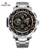 Mizums Brand Quartz Watch Men's Sport Watches Men Steel Band Military Clock Waterproof Gold LED Digital Watch Relogio Masculino  MartLion