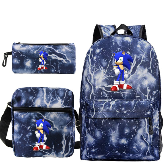 Mochila Sonic The Hedgehog Backpack Men Anime Hip Hop Plecak Sac A Dos Femme 3 PCS/set Pencil Case Bookbag Shoulder Bags Bookbag  MartLion