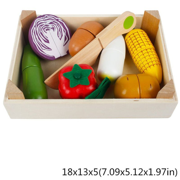 Montessori Early Education Gifts pretend play Wooden Classic Game Simulation Kitchen Series Toys Cutting Fruit Vegetable Toys  MartLion