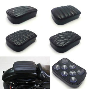 Motorcycle Black Rear Passenger Cushion Pillion Seat Pad 8 Suction Cups For Harley Cruiser Chopper Custom  MartLion