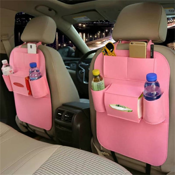 Multifunction Multi-Pocket Car Seat Back Protector Tidy Felt Organizer Pocket Travel Storage Bag car seat cover Car Accessories