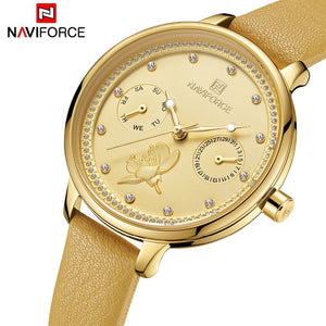 NAVIFORCE New Women Watch Fashion Lady Quartz Watches Genuine Leather Watchband Date Week Casual Wristwatches Gift For Girl  MartLion