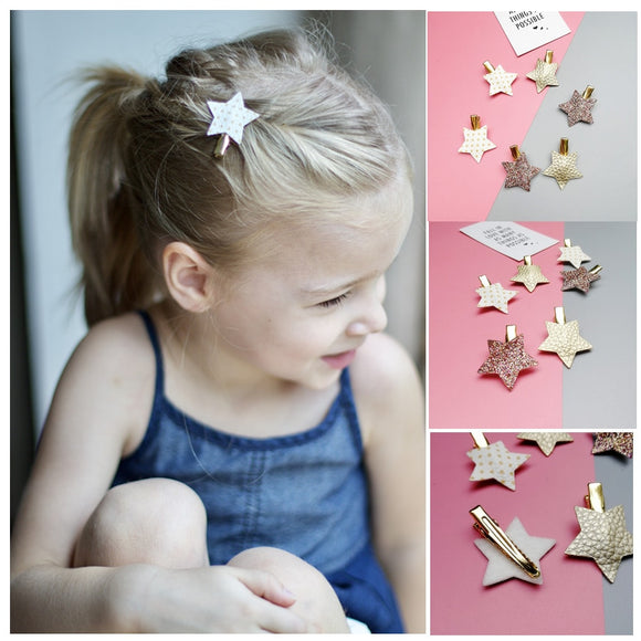 NEW 6-10pcs/set Sythetic Leather small star hair clips for girls and 8.7cm hair Bow hairpin girls children hair accessories  MartLion