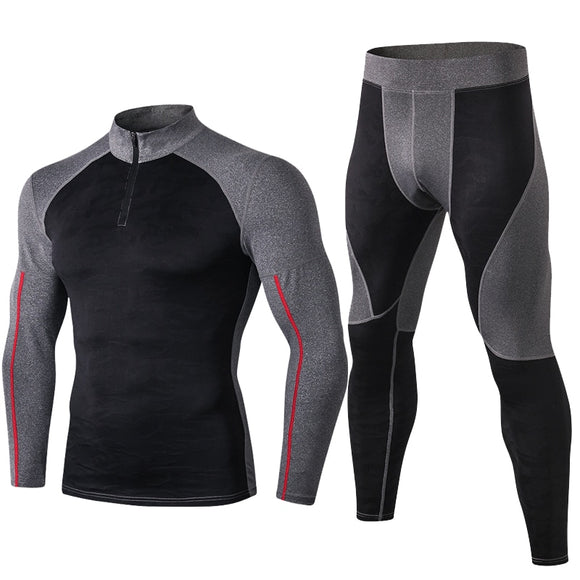 NEW High Collar Winter Mens thermal underwear thermo Long Johns Men Rashgard Shirt Leggings Warm Sport Compression Underwear