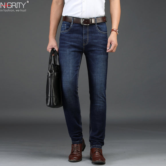 NIGRITY 2019 New Men's Straight casual jeans Fashion Elastic Denim trousers dark blue male stretchy pant Plus Big Size 29-42  MartLion.com