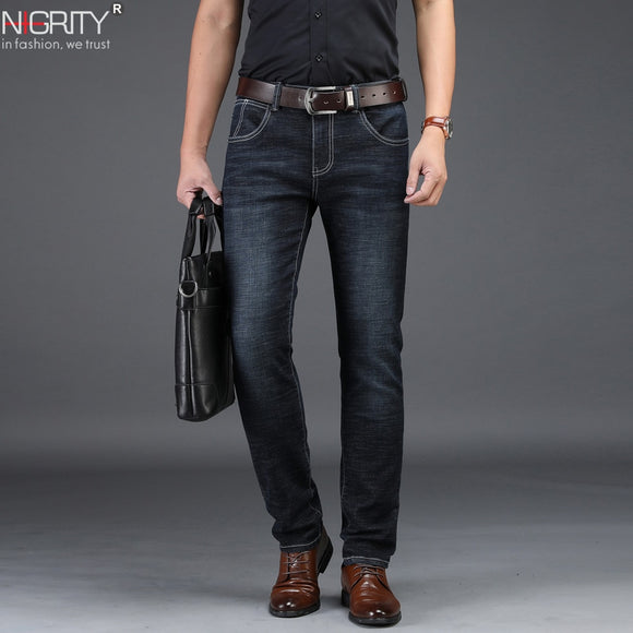 NIGRITY 2019 New Mens Jeans Smart Casual Jeans Regular Fit Straight Leg Elasticity Jeans 8932 Stretch Long Trousers Big Size 42  MartLion.com