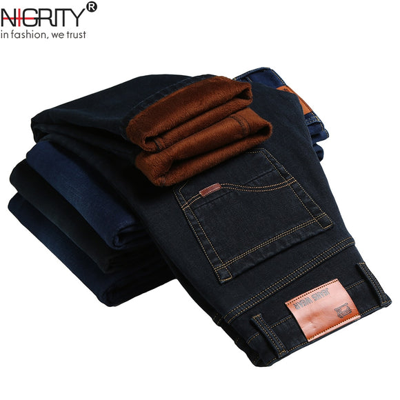 NIGRITY 2019 Winter Men's Warm Fleece Jeans Stretch Casual Straight Thick Denim Flannel Jeans Soft Pant Trousers Plus Size 28-44 - Mart Lion  Best shopping website