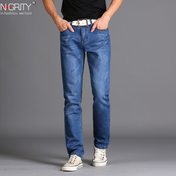 NIGRITY Brand New Men's Fashion Jeans Hot Jeans For Young Men Sale Men's Pants Casual Slim Cheap Straight Trousers Free Shipping  MartLion