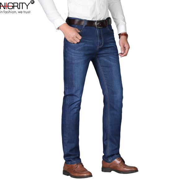 NIGRITY Man jeans 2019 New Fashion business Casual Denim Pants Men Straight cut slight stretch trousers large size 29-42 4 color - Mart Lion  Best shopping website