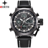NORTH Sport Watch Men Military Quartz Watches For Men Analog LED Digital Leather Nylon Men Watches Casual Waterproof Wristwatch  MartLion