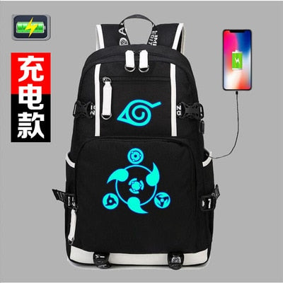 Naruto Sasuke Itachi Sharingan Luminous Backpack Student School Shoulder Bag Satchel Laptop Rucksack Knapsack Teenager Travel