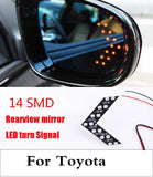 New 2017 14SMD LEDs Side Mirror Arrow Panel Turning Signal Light Lamp For Toyota Hilux Surf iQ Ist Kluger Land Cruiser Prado  MartLion