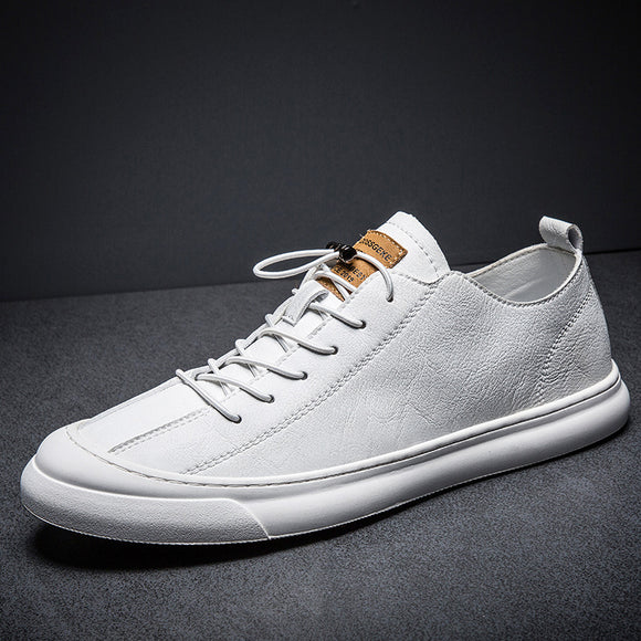 New 2019 High Quality Genuine Leather Shoes Men Flats Fashion Men's Casual Shoes Brand Man Soft Comfortable Lace up Black White  MartLion