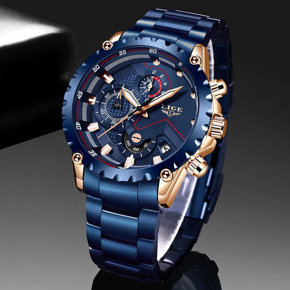 New 2020 LIGE Fashion Blue Stainless Steel Mens Watches Top Brand Luxury Waterproof Quartz Watch Men Date Dial Sport Chronograph  MartLion.com