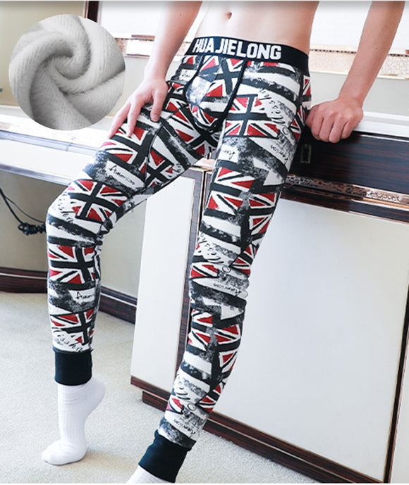 New Autumn and Winter Men Long Johns Cotton Velvet Thermal Underwear Warm Pants Thicken Sleep Bottoms Penis Pouch Trousers