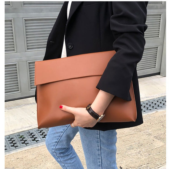 New Fashion 2019 Women Men OL Briefcase Luxury Handbags Envelope Large Clutch Purse Bags Leather Designer Soild Brown Black Red - Mart Lion  Best shopping website