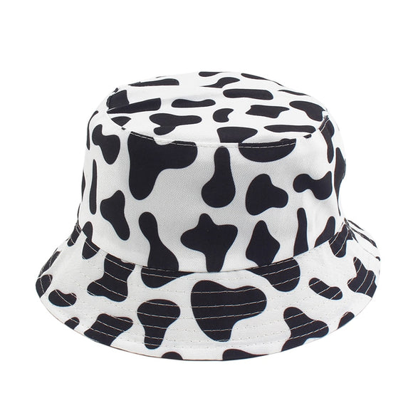 New Fashion Cow Print Hat White Black Bucket Hat Reversible Fisherman Caps Summer Hats For Women Gorras  MartLion