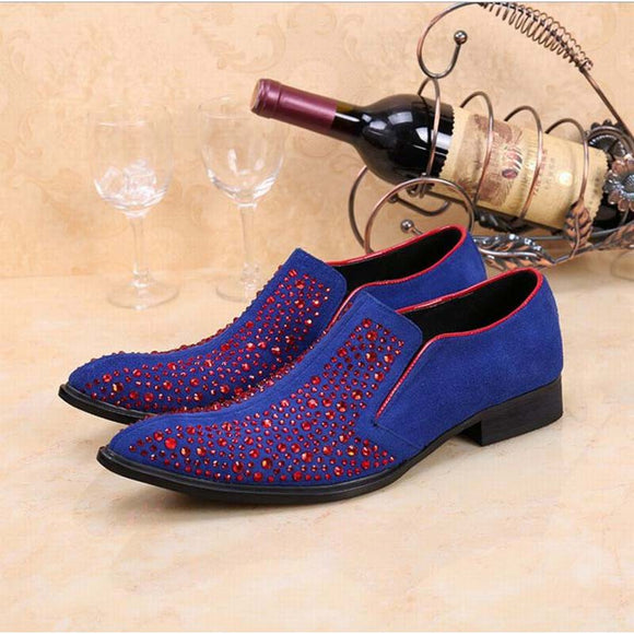 New Handmade red rhinestone suede loafers Luxury party wedding dress men shoes flats nightclub bar work shoe pointed toe fashion  MartLion