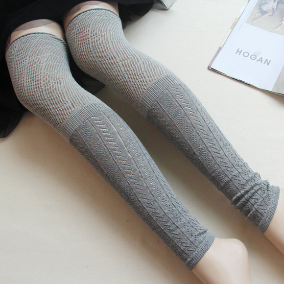 New Hollowed Over Knee Fashion Combed Cotton Jacquard Legwarmers Calentadores Pierna Mujer Boot Socks Cutout Thin Style  MartLion.com