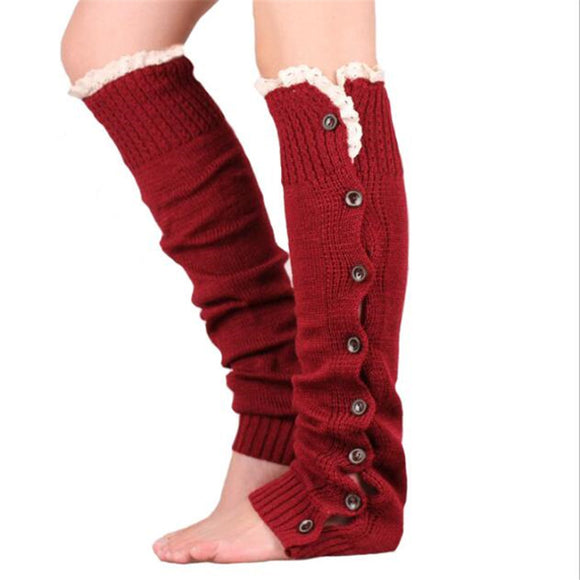 New Hot-sale Button Lace Women Leg Warmers Knitted Winter Boots Socks Cuffs Fashion Knee High Polainas Ladies' Beenarmers  MartLion.com