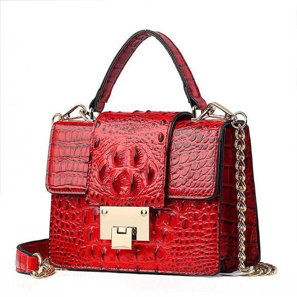 New Leather Bags Women Small Luxury Crocodile Pattern Designer Handbag Lady Alligator 2019 Crossbody Bags for Women Black Chain  MartLion