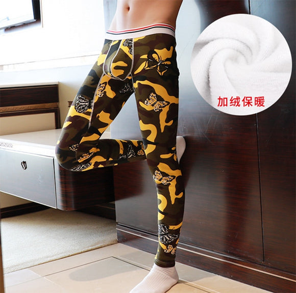 New Men's Fashion Long Pants add Velvet Winter Warm Printed Thermal Sexy Tight Legging Underwear Winter Autumn Clothes Pants