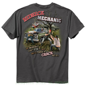 New Redneck Mechanic T Shirt - We Will Take A Crack At It - - - - Funny Shirt O Neck Tee Shirt Boy  MartLion