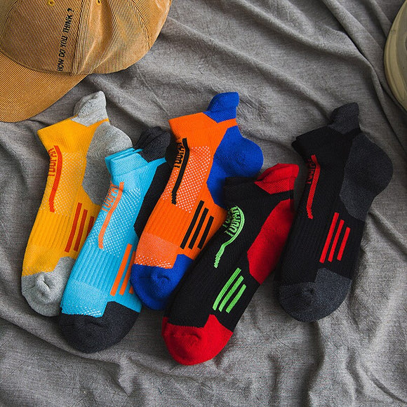 New Short Cotton Terry Slipper Socks Summer Colorful Breathable Mesh Stripe Ankle Socks for Male Outdoor Sport Protective Heel  MartLion.com