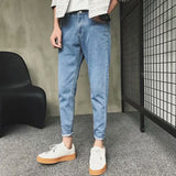 New Spring Summer Men's Ankle Length Jeans Youth Casual Fashion Nine Pants Men's Light Blue Ripped Slim Fit Pencil Pants Jeans  MartLion