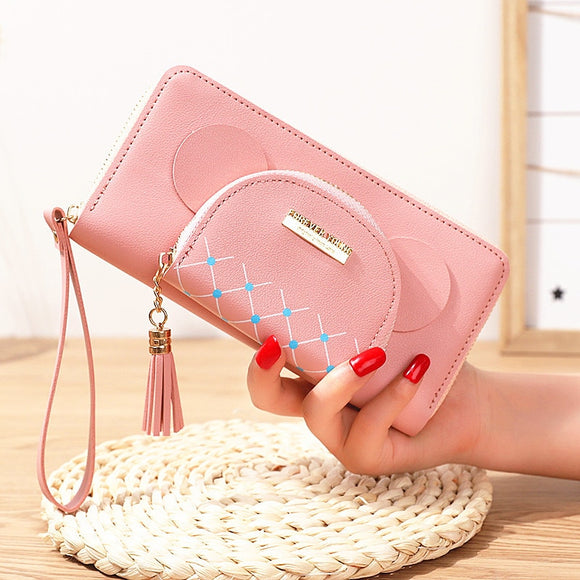New double zipper women's tassel wallet long large capacity hand wallet double-layer animal multi-layer card holder storage