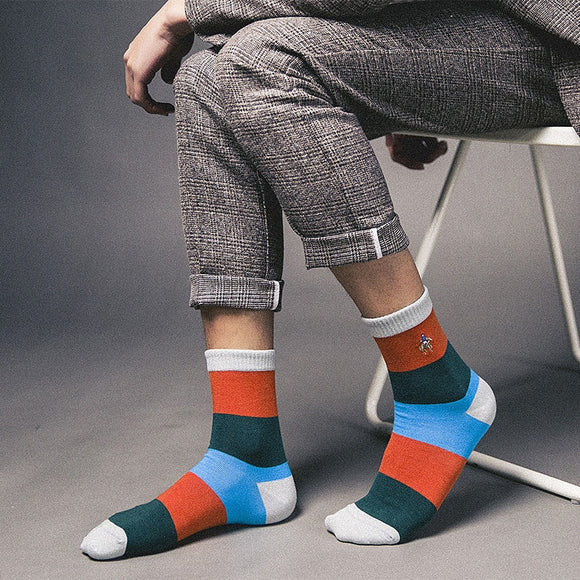 New standard size 39-44 casual cotton socks high quality men socks, colorful polo socks  MartLion.com