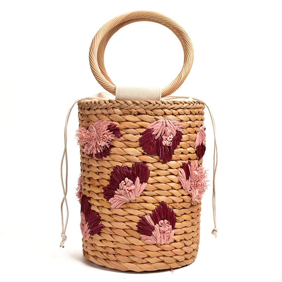 New three-dimensional flower hand-held straw woven bag lovely bucket hand woven bag holiday women's Beach handbags