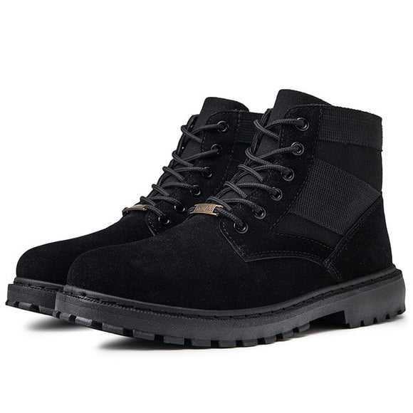 Nice Autumn New Vogue Fashion Men Boots High Quality Split Leather Ankle Snow Boots Casual Work Boots Safty Mens Shoes  MartLion