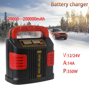 OOTDTY 350W 14A AUTO Plus Adjust LCD Battery Charger 12V-24V Car Jump Starter Portable  MartLion