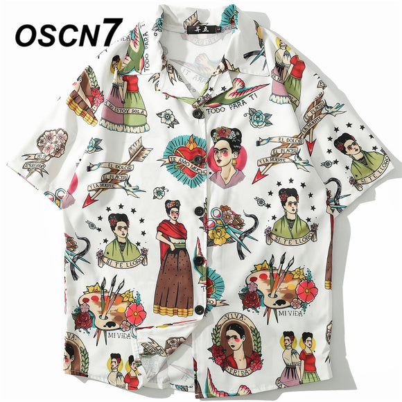 OSCN7 2019 Casual Print Short Sleeve Shirt Men Streetwear Summer Hawaii Beach Women Fashion Loose Short Sleeve Shirts Mens 1005  MartLion