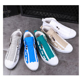 OVXUAN 2019 Shell Toe Shuttle Shoelace Stripe High Top Sneakers Men Casual Loafers Male Luxury Street Walking Canvas Flats Shoes  MartLion.com