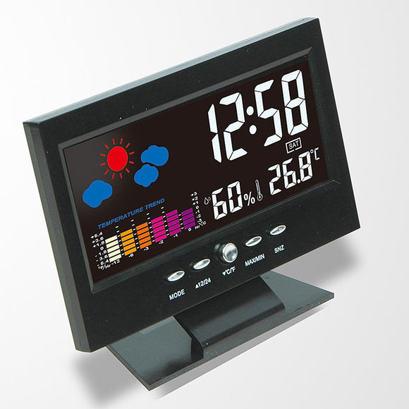 Original Lcd Digital Weather Forecast Snooze Temperature Alarm Clock Watch Household Wall Desk Alarm Watch Multi Functional  MartLion.com