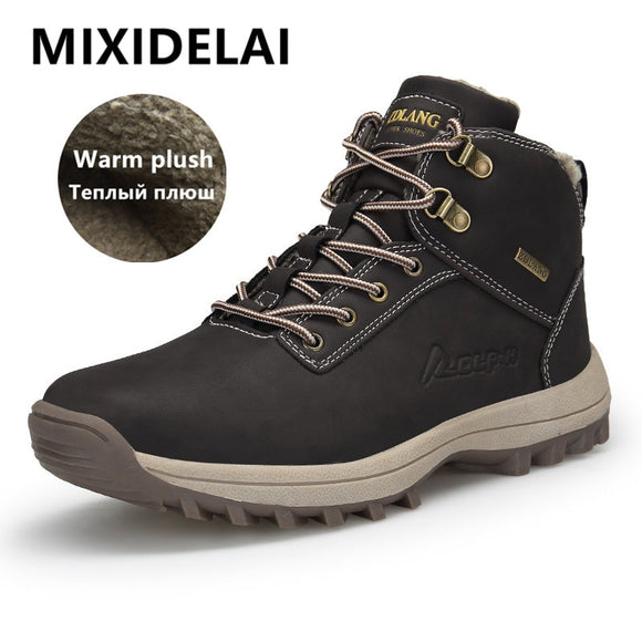 Outdoor Fashion Leather Men Boots Comfortable Men Shoes Waterproof Ankle Boots Short Plush Winter Warm Work Shoes Big Size 39~48