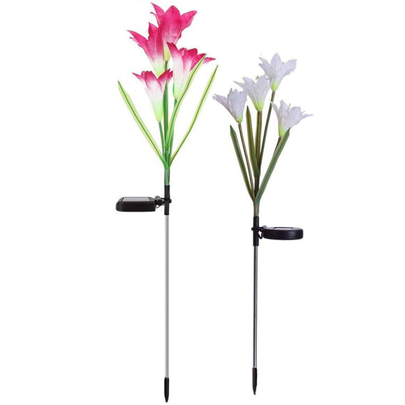 Outdoor Solar Garden Stake Lights,Upgraded Led Solar Powered Light, Multi-Color Auto-Changing 8 Bigger Lily Flower Decorative
