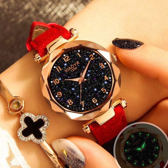 PESIRM Luxury Starry Sky Watch For Women Fashion Ladies Quartz Wristwatch Red Leather  MartLion.com