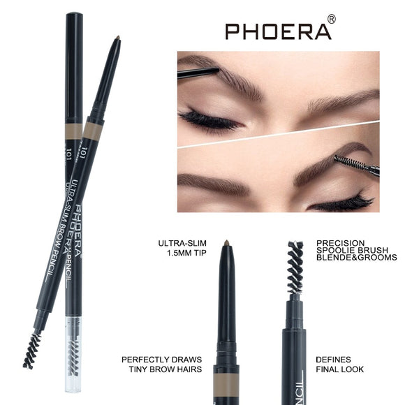 PHOERA Double Ends 1.5mm Ultra-slim Eyebrow Pencil Waterproof Natural Fine Sketch Eyebrow Pencil  & Eyebrow Brush Cosmetic TSLM2